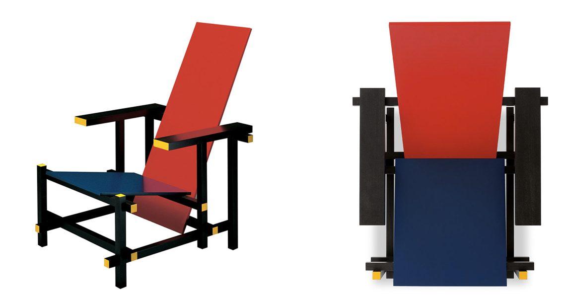 Ancora la sedia Red-blu prodotta da Cassina.